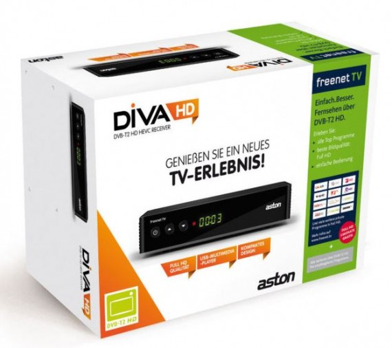Aston Diva HD DVB-T2 H.265 Receiver (3 Monate gratis Freenet TV)