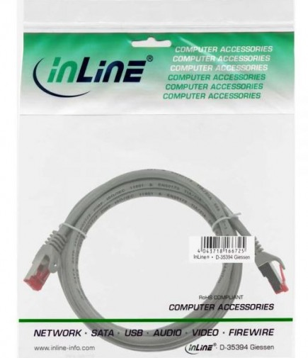 InLine Patchkabel Cat. 6, grau, 1m