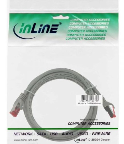 InLine Patchkabel Cat. 6, grau, 7.5m