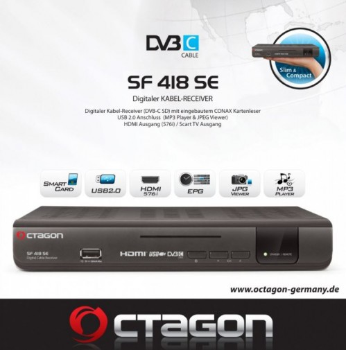 Octagon SF 418 SE DVB-C SD Kabel Receiver