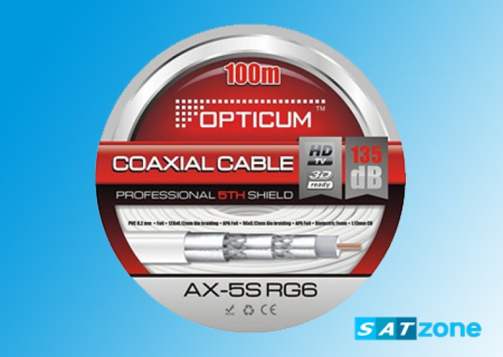 Opticum Professional AX-5SRG6 Satkabel, 100m, 8,2 mm, 135 dB